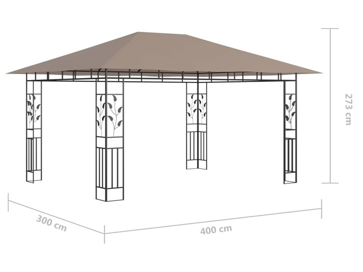 vidaXL Altana ogrodowa z moskitierą, 4x3x2,73 m, kolor taupe, 180 g/m² Wysokość 273 cm Długość 4 m Kategoria Altany ogrodowe