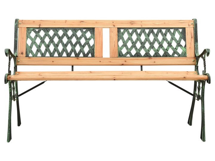 vidaXL Ławka ogrodowa, 122 cm, żeliwo i lite drewno jodłowe Z oparciem Stal Kolor Brązowy