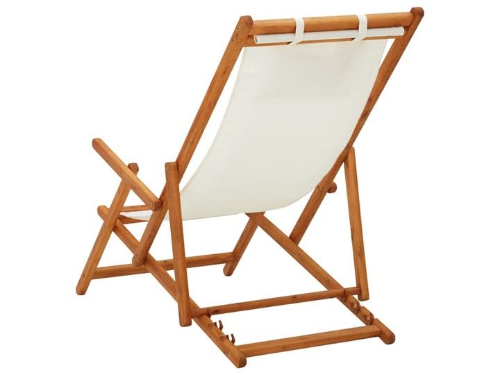 vidaXL Składany leżak, lite drewno eukaliptusa i kremowa tkanina Krzesło z podłokietnikami Tworzywo sztuczne Krzesło składane Kategoria Krzesła ogrodowe