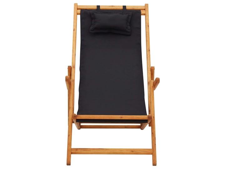 vidaXL Składany leżak, lite drewno eukaliptusa i czarna tkanina Tworzywo sztuczne Krzesło z podłokietnikami Krzesło składane Kolor Czarny