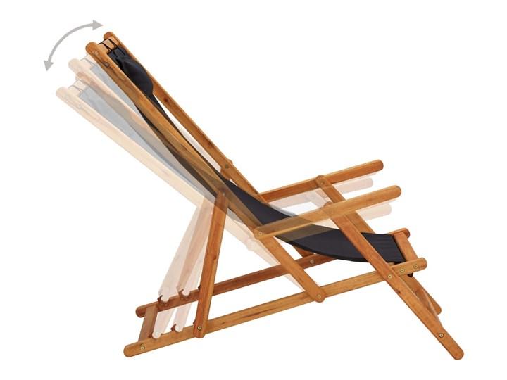 vidaXL Składany leżak, lite drewno eukaliptusa i czarna tkanina Krzesło z podłokietnikami Tworzywo sztuczne Krzesło składane Kategoria Krzesła ogrodowe