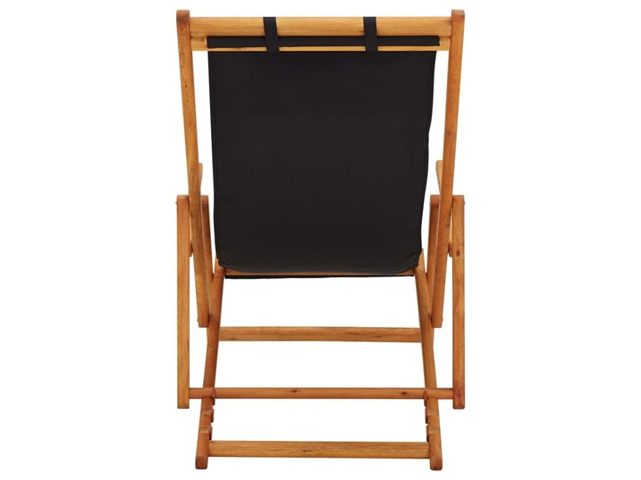 vidaXL Składany leżak, lite drewno eukaliptusa i czarna tkanina Krzesło z podłokietnikami Krzesło składane Tworzywo sztuczne Kolor Czarny Kategoria Krzesła ogrodowe