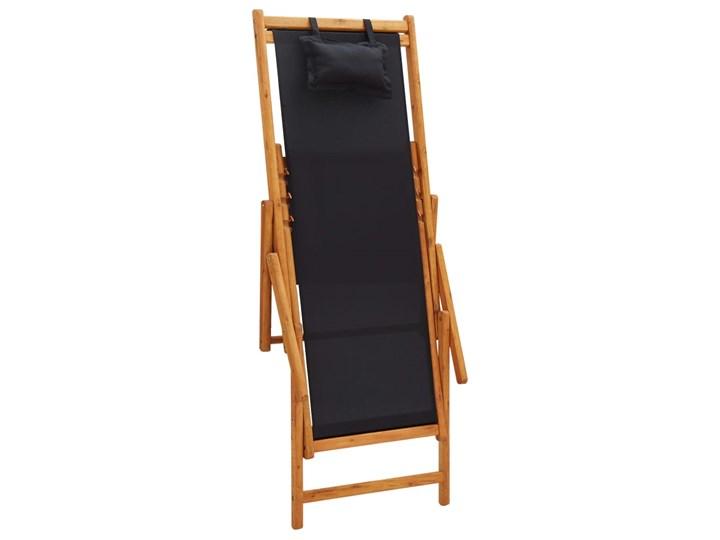 vidaXL Składany leżak, lite drewno eukaliptusa i czarna tkanina Krzesło składane Tworzywo sztuczne Kolor Czarny Krzesło z podłokietnikami Kategoria Krzesła ogrodowe