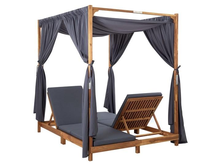 vidaXL Podwójny leżak z zasłonami i poduszkami, lite drewno akacjowe Kategoria Leżaki ogrodowe Składane Kolor Czarny