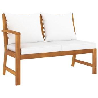 vidaXL Ławka ogrodowa, 114,5 cm, kremowe poduszki, drewno akacjowe