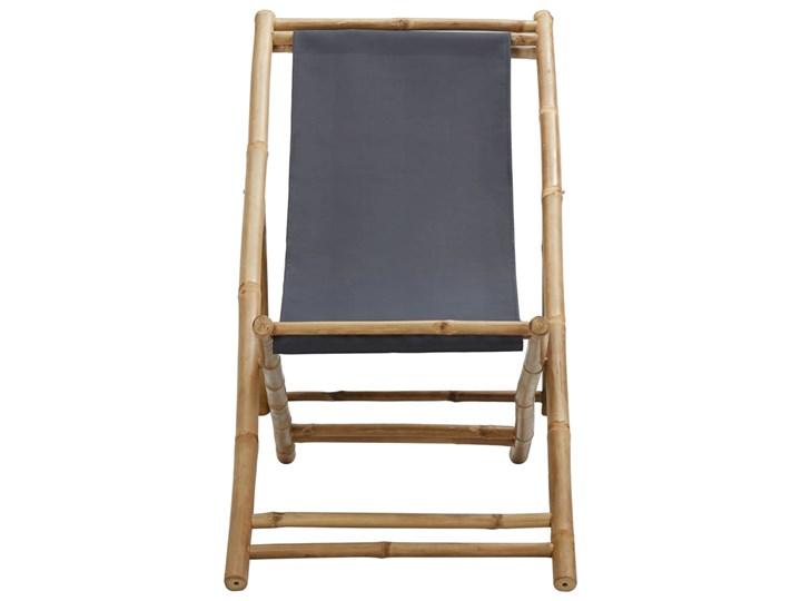 vidaXL Leżak z bambusa i ciemnoszarego płótna Tworzywo sztuczne Krzesło z podłokietnikami Kategoria Krzesła ogrodowe Krzesło składane Drewno Kolor Brązowy