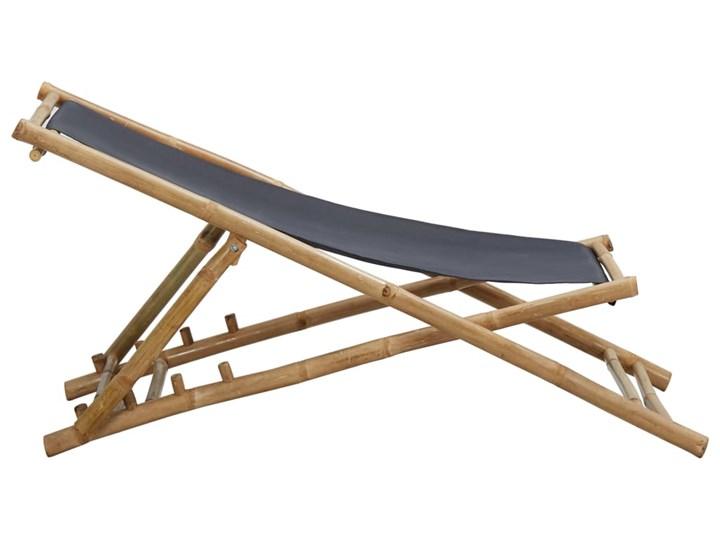 vidaXL Leżak z bambusa i ciemnoszarego płótna Kategoria Krzesła ogrodowe Krzesło z podłokietnikami Drewno Krzesło składane Tworzywo sztuczne Kolor Brązowy