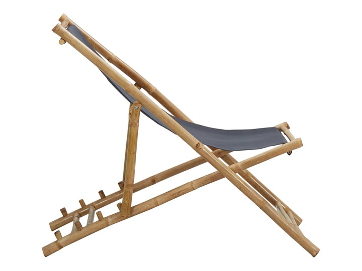 vidaXL Leżak z bambusa i ciemnoszarego płótna Kategoria Krzesła ogrodowe Krzesło z podłokietnikami Tworzywo sztuczne Drewno Krzesło składane Kolor Brązowy