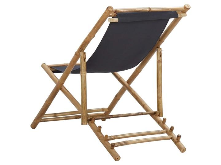 vidaXL Leżak z bambusa i ciemnoszarego płótna Kategoria Krzesła ogrodowe Tworzywo sztuczne Krzesło z podłokietnikami Drewno Krzesło składane Kolor Brązowy