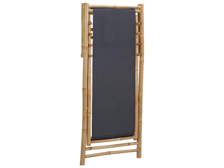 vidaXL Leżak z bambusa i ciemnoszarego płótna Krzesło z podłokietnikami Drewno Krzesło składane Tworzywo sztuczne Kategoria Krzesła ogrodowe