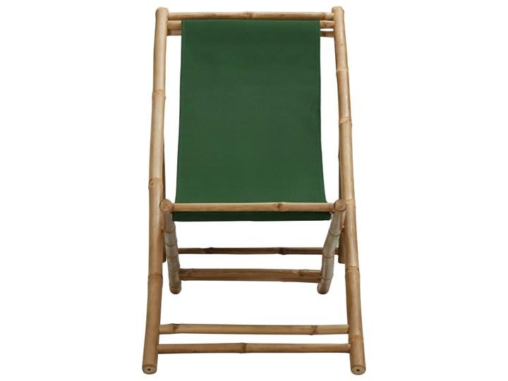 vidaXL Leżak z bambusa i zielonego płótna Krzesło składane Tworzywo sztuczne Drewno Kolor Zielony Krzesło z podłokietnikami Kategoria Krzesła ogrodowe