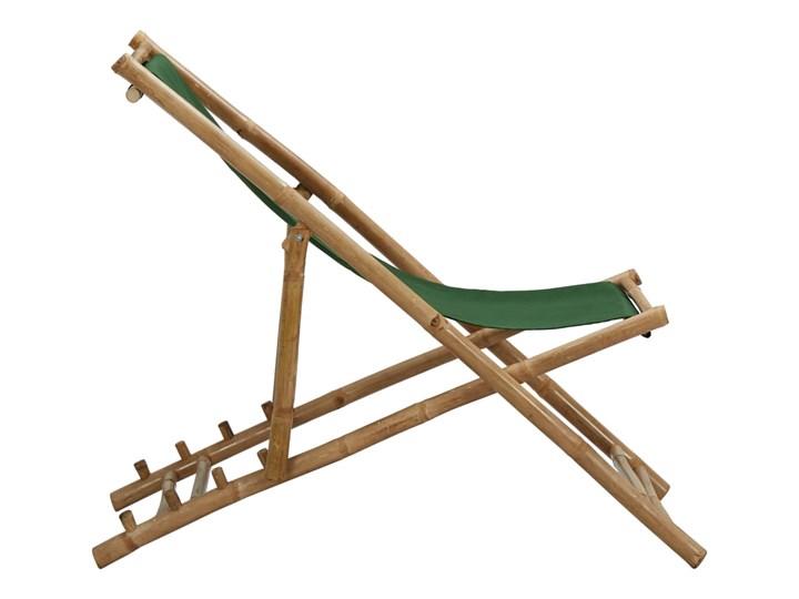 vidaXL Leżak z bambusa i zielonego płótna Krzesło składane Tworzywo sztuczne Drewno Krzesło z podłokietnikami Kolor Zielony