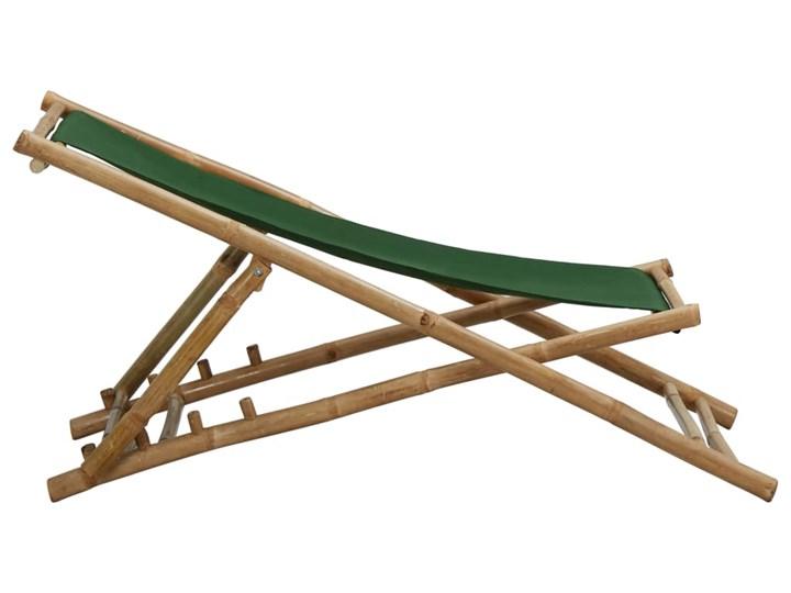 vidaXL Leżak z bambusa i zielonego płótna Drewno Krzesło składane Tworzywo sztuczne Krzesło z podłokietnikami Kolor Zielony Kategoria Krzesła ogrodowe