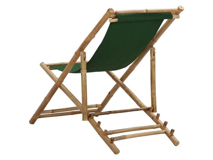 vidaXL Leżak z bambusa i zielonego płótna Tworzywo sztuczne Krzesło składane Krzesło z podłokietnikami Drewno Kolor Zielony