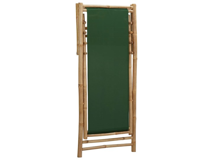 vidaXL Leżak z bambusa i zielonego płótna Krzesło z podłokietnikami Tworzywo sztuczne Drewno Kategoria Krzesła ogrodowe Krzesło składane Kolor Zielony