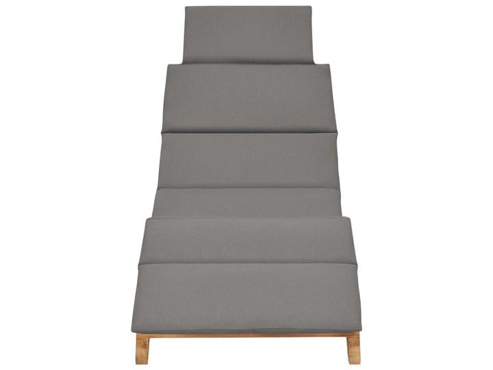 vidaXL Składany leżak z ciemnoszarą poduszką, lite drewno tekowe Składane Kolor Brązowy Kategoria Leżaki ogrodowe