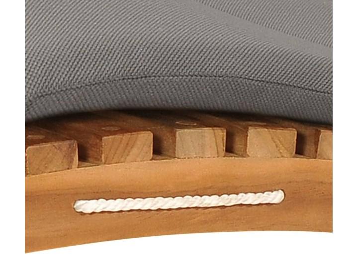vidaXL Składany leżak z ciemnoszarą poduszką, lite drewno tekowe Kategoria Leżaki ogrodowe Składane Kolor Brązowy