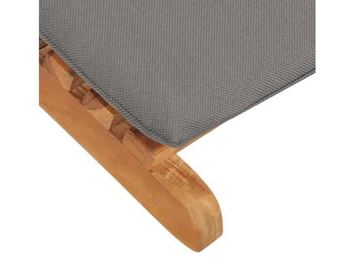 vidaXL Składany leżak z ciemnoszarą poduszką, lite drewno tekowe Składane Kolor Brązowy