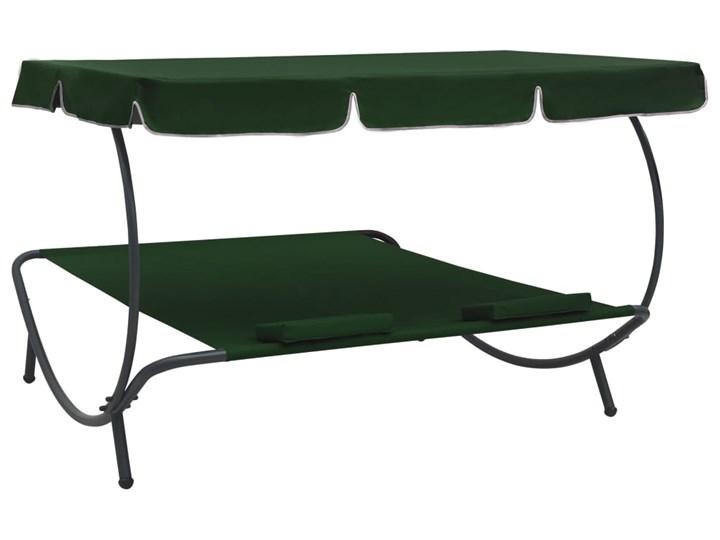 vidaXL Leżak ogrodowy z baldachimem i poduszkami, zielony Leżanki Z daszkiem Metal Kategoria Leżaki ogrodowe