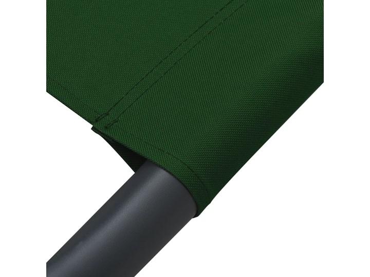 vidaXL Leżak ogrodowy z baldachimem i poduszkami, zielony Metal Leżanki Z daszkiem Kategoria Leżaki ogrodowe