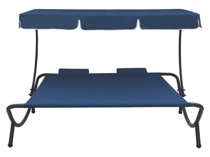 vidaXL Leżak ogrodowy z baldachimem i poduszkami, niebieski Metal Leżanki Z daszkiem Kategoria Leżaki ogrodowe
