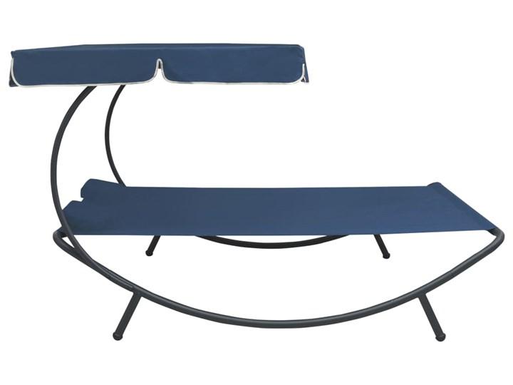 vidaXL Leżak ogrodowy z baldachimem i poduszkami, niebieski Z daszkiem Metal Leżanki Kategoria Leżaki ogrodowe