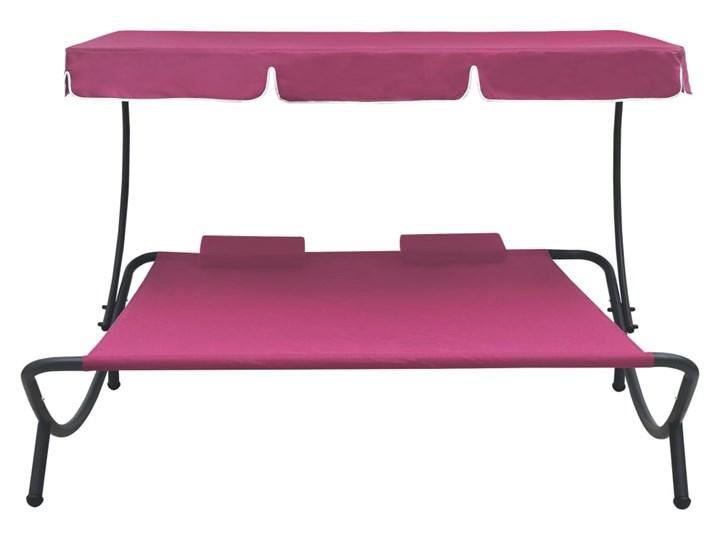 vidaXL Leżak ogrodowy z baldachimem i poduszkami, różowy Leżanki Metal Z daszkiem Kategoria Leżaki ogrodowe