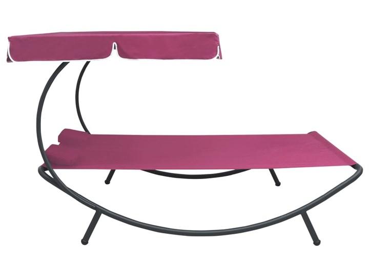 vidaXL Leżak ogrodowy z baldachimem i poduszkami, różowy Metal Z daszkiem Leżanki Kategoria Leżaki ogrodowe