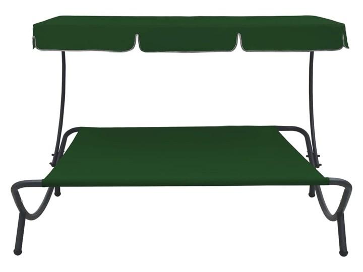 vidaXL Leżak ogrodowy z baldachimem, zielony Tworzywo sztuczne Metal Z daszkiem Kategoria Leżaki ogrodowe
