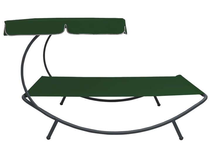 vidaXL Leżak ogrodowy z baldachimem, zielony Z daszkiem Metal Tworzywo sztuczne Kategoria Leżaki ogrodowe