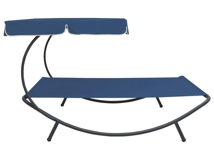 vidaXL Leżak ogrodowy z baldachimem, niebieski Tworzywo sztuczne Metal Z daszkiem Kategoria Leżaki ogrodowe