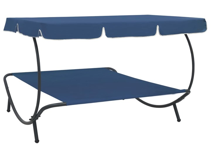 vidaXL Leżak ogrodowy z baldachimem, niebieski Metal Tworzywo sztuczne Z daszkiem Kategoria Leżaki ogrodowe