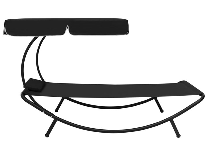vidaXL Leżak ogrodowy z baldachimem i poduszką, czarny Z daszkiem Metal Z poduszką Kategoria Leżaki ogrodowe