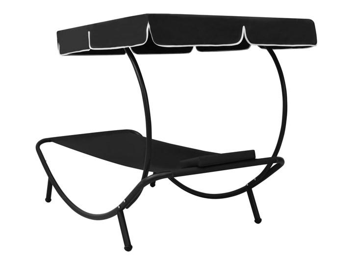 vidaXL Leżak ogrodowy z baldachimem i poduszką, czarny Z poduszką Z daszkiem Metal Kategoria Leżaki ogrodowe
