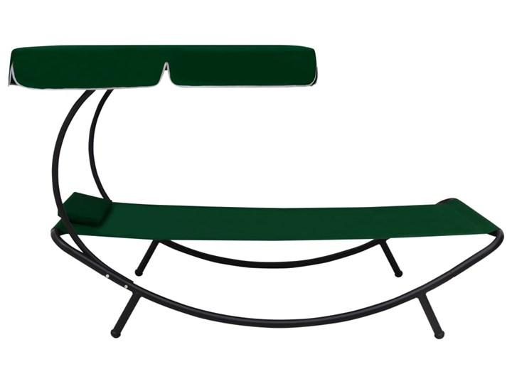 vidaXL Leżak ogrodowy z baldachimem i poduszką, zielony Z poduszką Metal Z daszkiem Kategoria Leżaki ogrodowe