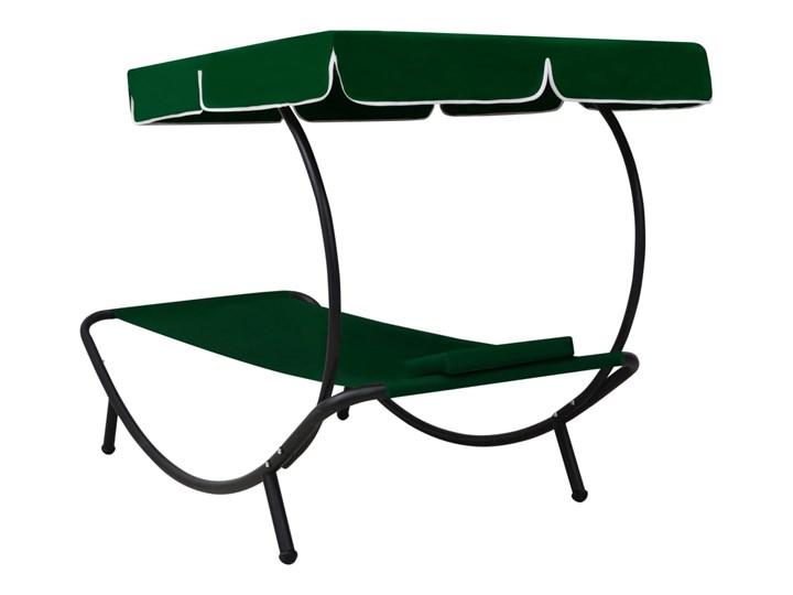 vidaXL Leżak ogrodowy z baldachimem i poduszką, zielony Metal Z poduszką Z daszkiem Kategoria Leżaki ogrodowe