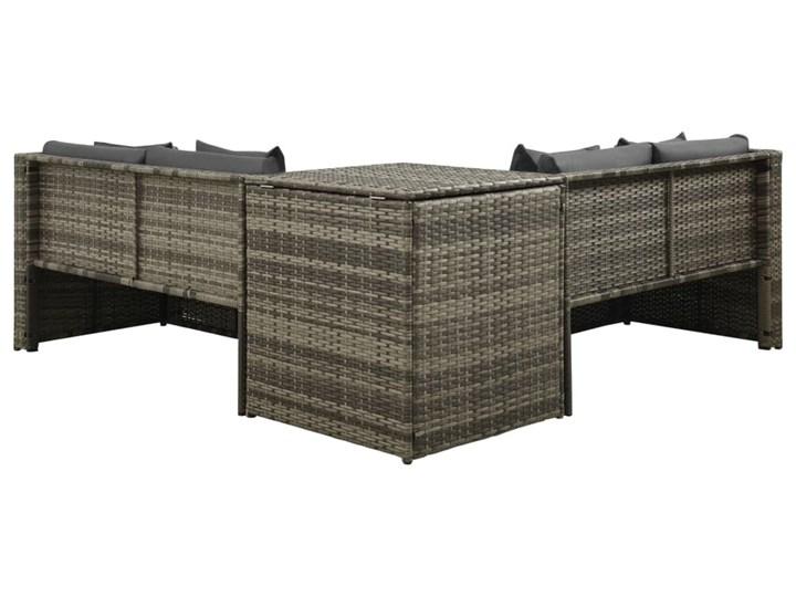 vidaXL 4-cz. zestaw wypoczynkowy do ogrodu, poduszki, szary rattan PE Stal Zestawy wypoczynkowe Tworzywo sztuczne Technorattan Zestawy modułowe Kategoria Zestawy mebli ogrodowych