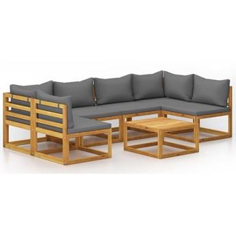 vidaXL 7-cz. zestaw wypoczynkowy do ogrodu, poduszki, drewno akacjowe