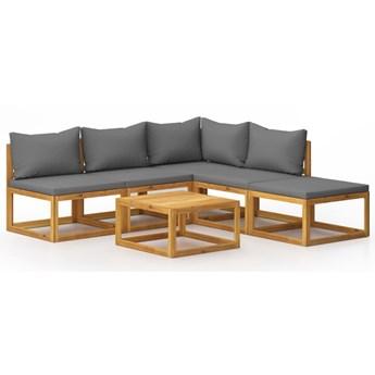 vidaXL 6-cz. zestaw wypoczynkowy do ogrodu, poduszki, drewno akacjowe