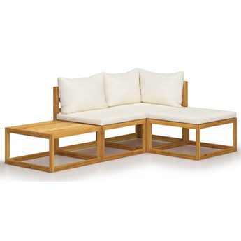 vidaXL 4-cz. zestaw wypoczynkowy do ogrodu, kremowe poduszki, akacja