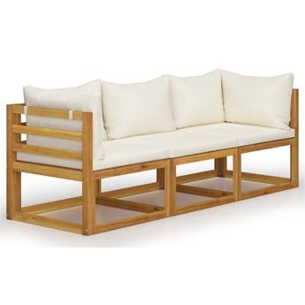 vidaXL 3-osobowa sofa ogrodowa z kremowymi poduszkami, drewno akacjowe