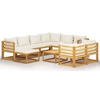 vidaXL 10-cz. zestaw wypoczynkowy do ogrodu, kremowe poduszki, akacja