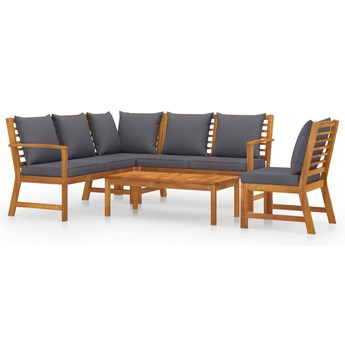 vidaXL 5-cz. zestaw wypoczynkowy do ogrodu, poduszki, drewno akacjowe