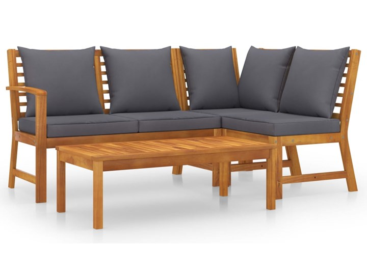 vidaXL 4-cz. zestaw wypoczynkowy do ogrodu, poduszki, drewno akacjowe