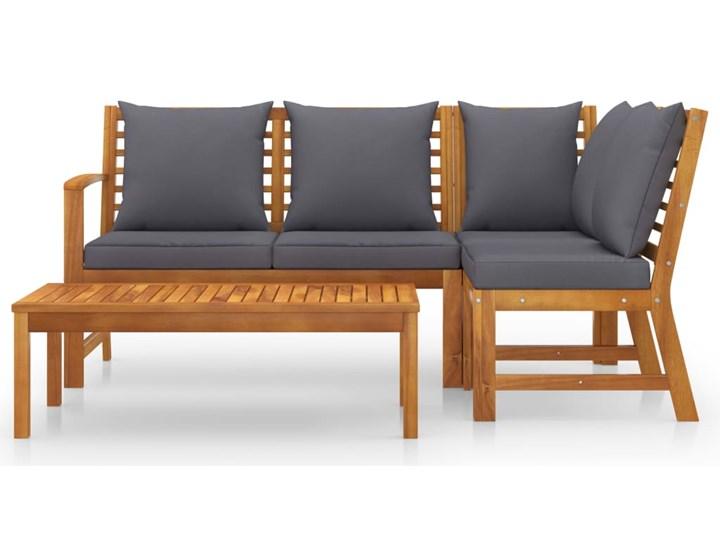 vidaXL 4-cz. zestaw wypoczynkowy do ogrodu, poduszki, drewno akacjowe Zestawy wypoczynkowe Zestawy kawowe Tworzywo sztuczne Zawartość zestawu Stolik Zestawy modułowe Kolor Czarny