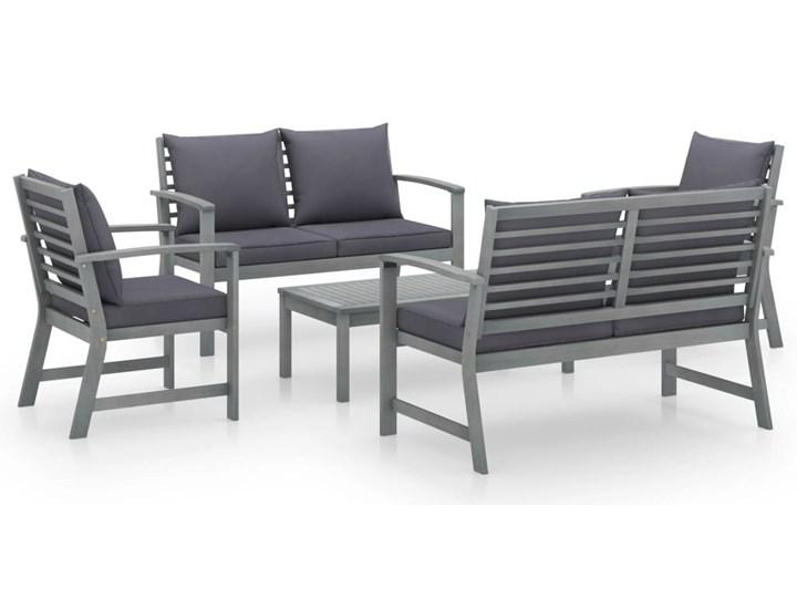 vidaXL 5-cz. zestaw wypoczynkowy do ogrodu, poduszki, drewno akacjowe Zestawy modułowe Tworzywo sztuczne Zestawy wypoczynkowe Zestawy kawowe Kolor Czarny