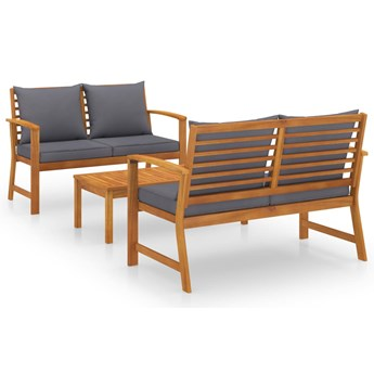 vidaXL 3-cz. zestaw wypoczynkowy do ogrodu, poduszki, drewno akacjowe