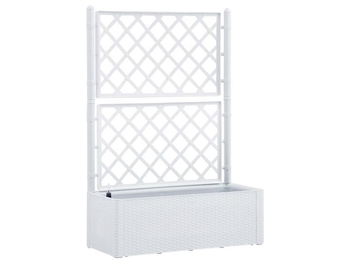 vidaXL Podwyższona donica z treliażem i systemem podlewania, biała Rattan Donica ogrodowa Plastik Donica balkonowa Kolor Biały