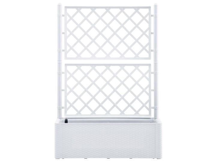 vidaXL Podwyższona donica z treliażem i systemem podlewania, biała Donica ogrodowa Donica balkonowa Rattan Kolor Biały Plastik Kategoria Donice ogrodowe