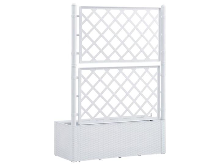 vidaXL Podwyższona donica z treliażem i systemem podlewania, biała Rattan Donica balkonowa Plastik Donica ogrodowa Kolor Biały